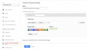 custom channel groupings definition